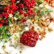 Christmas decoration with red baubles, red and golden garlands — Stock Photo #56539565
