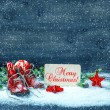 Christmas decoration red stars and antique baby shoes in snow — Stock Photo #56539621