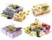 Soap bars with fresh lavender, chamomile and jasmine flowers — Stock Photo