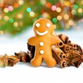 Smiling gingerbread man with christmas spices. defocused lights — Foto de Stock
