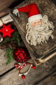 Christmas decoration with antique toys on wooden background — Stock Photo