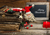 Christmas decoration with antique toys and red candle — Foto de Stock