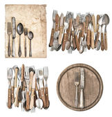 Aged paper, antique kitchen utensils and vintage silver cutlery — Stock Photo