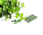 Herbal medicine pills with green plant on white background — Stock Photo