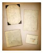 Old photo frames and mathe book page. aged paper — Stock Photo