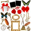 Objects for scrapbook. clock, key, photo frame, butterfly, rose — Stock Photo #56541271