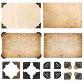 Old cardboards, photo cards, frames and corners isolated on whit — Stock Photo