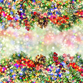 Christmas decoration with colorful lights over blurred backgroun — Zdjęcie stockowe