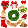Christmas decorations wreath, hat, red sock, gift box, baubles, — Stock Photo #56639901