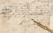 Old letter with calligraphic handwritten text and vintage ink pe — Zdjęcie stockowe
