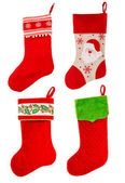 Christmas stocking. red sock with Santa Claus. winter holidays s — Stock Photo