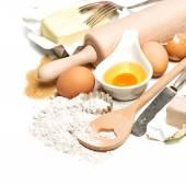 Eggs, flour, sugar, butter, yeast. ingredients for dough prepara — Stok fotoğraf