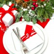 Christmas table place setting decoration with four candles — Stok fotoğraf #57291505