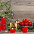 Christmas decorations with red candles and vintage toys — Stock Photo #57292001