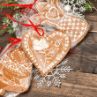 Handmade gingerbread cookies with christmas decorations — Stock Photo #57294995