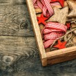 Christmas decorations wooden stars and red ribbons — Stock Photo #57296269