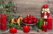 Christmas decorations with red candles, baubles, antique toys — Foto de Stock