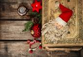 Vintage christmas decoration with antique baubles and toys — ストック写真