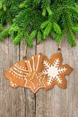 Christmas tree branch with gingerbread cookies decoration — Stockfoto