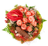 Bouquet of red roses with decorations — Stock Photo