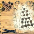Постер, плакат: Christmas cookie cinnamon stars and spices vintage style