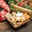 Christmas ornaments and gingerbread cookies — Stock Photo #57300697
