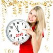 Young woman with big clock and party decoration. partytime 2015 — Stock Photo #58879107