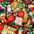 Colorful christmas baubles, toys and ornaments — Stock Photo #58879175