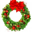 Christmas wreath with red ribbon bow isolated on white — Stock Photo #58879805