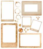Aged paper photo frames and coffee stains. scrapbook elements — Stock Photo