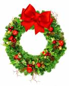 Christmas wreath with red ribbon bow isolated on white — Foto Stock