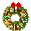Christmas wreath decorated with ornaments and red ribbon bow — Stock Photo #58880001