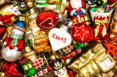 Christmas baubles, toys and ornaments. colorful decorations — Stock Photo