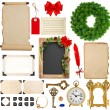 Christmas decorations, ornaments and gifts. paper and frames iso — Foto Stock #58916967
