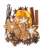 Gingerbread cookies and spices. christmas food ingredients — Stock Photo