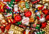 Colorful christmas baubles, toys and garlands — Stock Photo