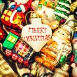 Christmas baubles, toys and ornaments. vintage colorful decorati — Stock Photo #58978925