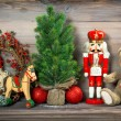 Christmas decoration with antique toys teddy bear — Stock Photo #58979235