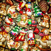 Christmas tree decorations baubles, toys and colorful ornaments — Foto Stock