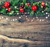 Christmas ornamets and green pine branches — Foto Stock