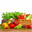 Fresh vegetables and herbs. shopping basket — Stock Photo #59019111