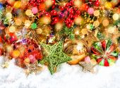 Christmas decorations and  bokeh — Stock Photo