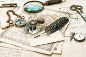 Old letters and maps — Stock Photo