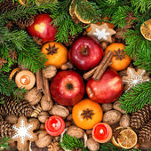 Christmas food background. — Stock Photo
