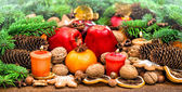 Christmas decorations and Fruits — Stock Photo
