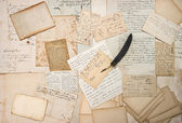 Letters, handwritings, vintage postcards and feather pen — Stock Photo