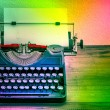 Vintage typewriter with color spot lights. Creativity concept — Stock Photo #62753839