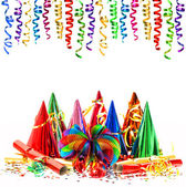 Colorful shiny streamer and carnival party decoration — Stock Photo