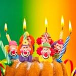 Birthday cake with burning candles decoration — Stock Photo #62871841