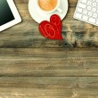 Red love heart, tablet pc, coffee. Valentines Day workplace — Stock Photo #62873337